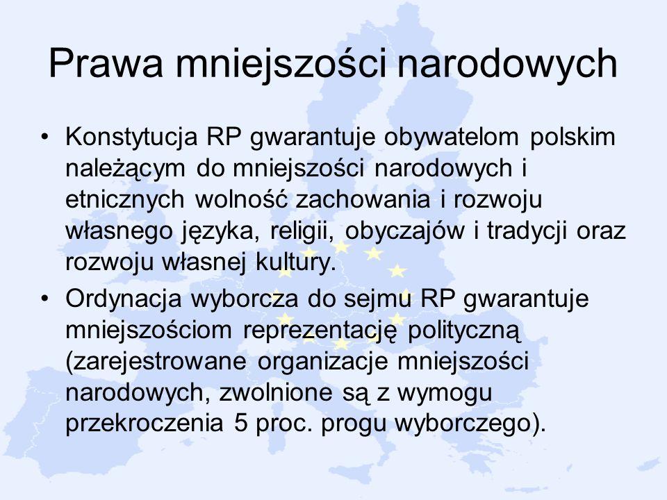 Prawa mniejszości narodowych Konstytucja RP gwarantuje obywatelom polskim należącym do mniejszości narodowych i etnicznych wolność zachowania i rozwoj