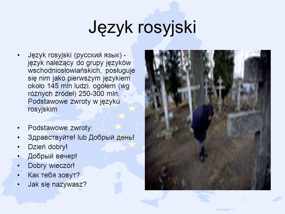 Język rosyjski Język rosyjski (русский язык) - język należący do grupy języków wschodniosłowiańskich, posługuje się nim jako pierwszym językiem około