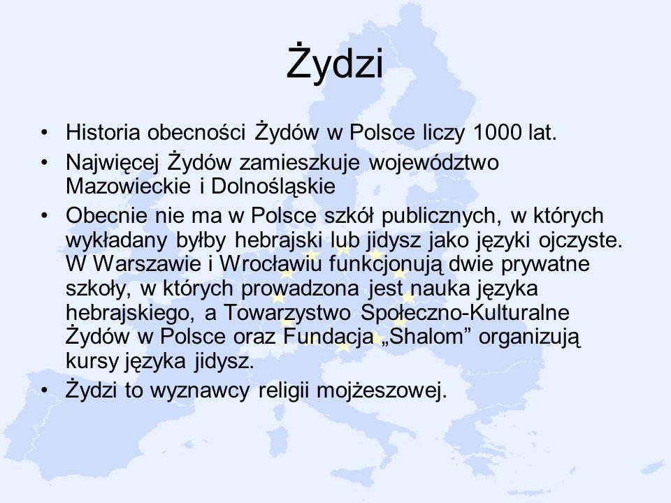 Żydzi Historia obecności Żydów w Polsce liczy 1000 lat. Najwięcej Żydów zamieszkuje województwo Mazowieckie i Dolnośląskie Obecnie nie ma w Polsce szk