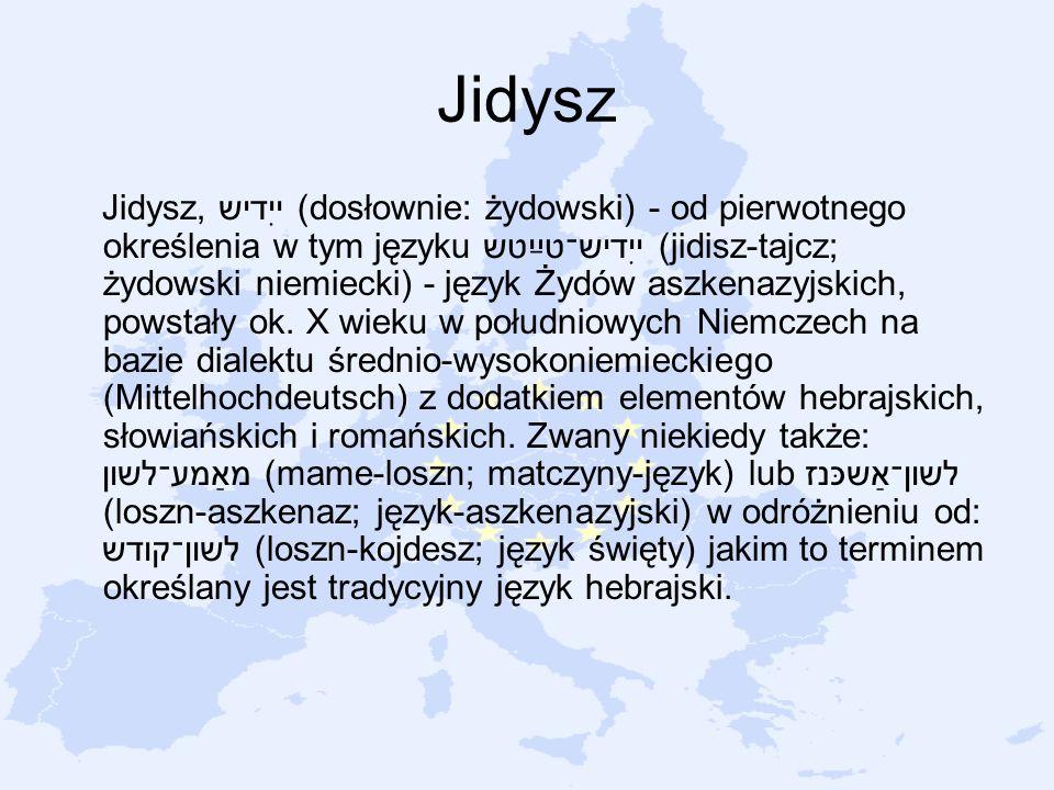 Jidysz Jidysz, ייִדיש (dosłownie: żydowski) - od pierwotnego określenia w tym języku ייִדיש־טײַטש (jidisz-tajcz; żydowski niemiecki) - język Żydów asz