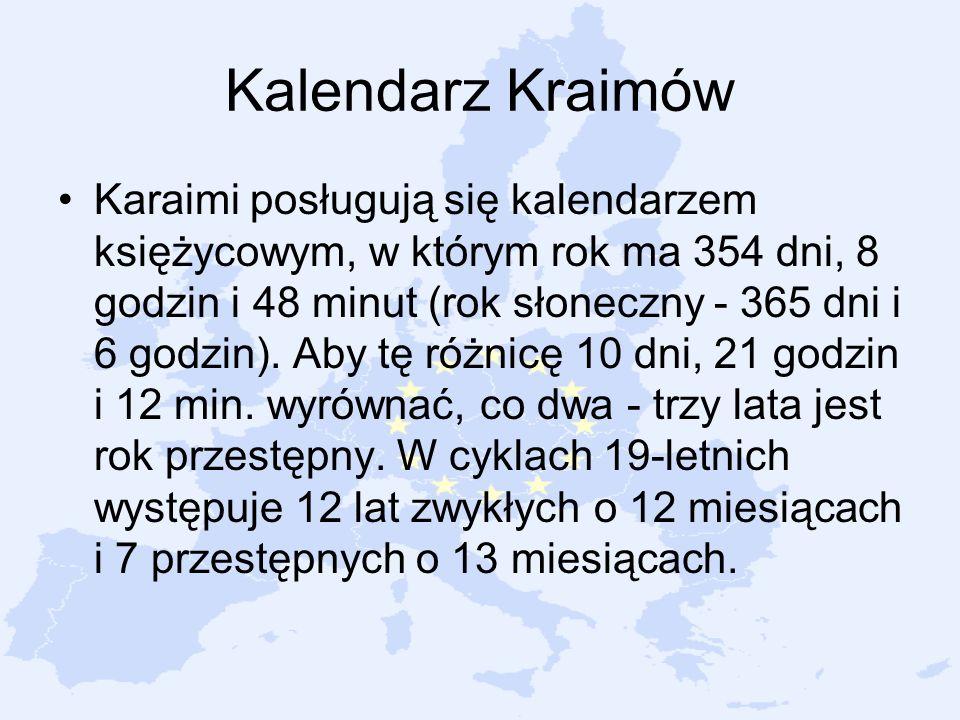 Kalendarz Kraimów Karaimi posługują się kalendarzem księżycowym, w którym rok ma 354 dni, 8 godzin i 48 minut (rok słoneczny - 365 dni i 6 godzin). Ab