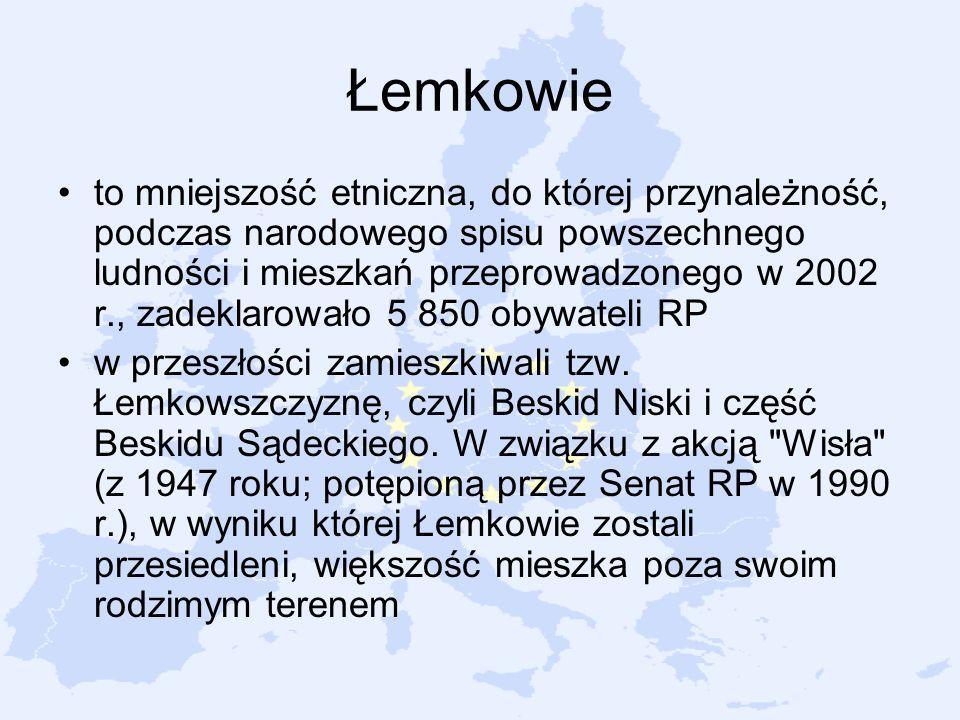 Łemkowie to mniejszość etniczna, do której przynależność, podczas narodowego spisu powszechnego ludności i mieszkań przeprowadzonego w 2002 r., zadekl