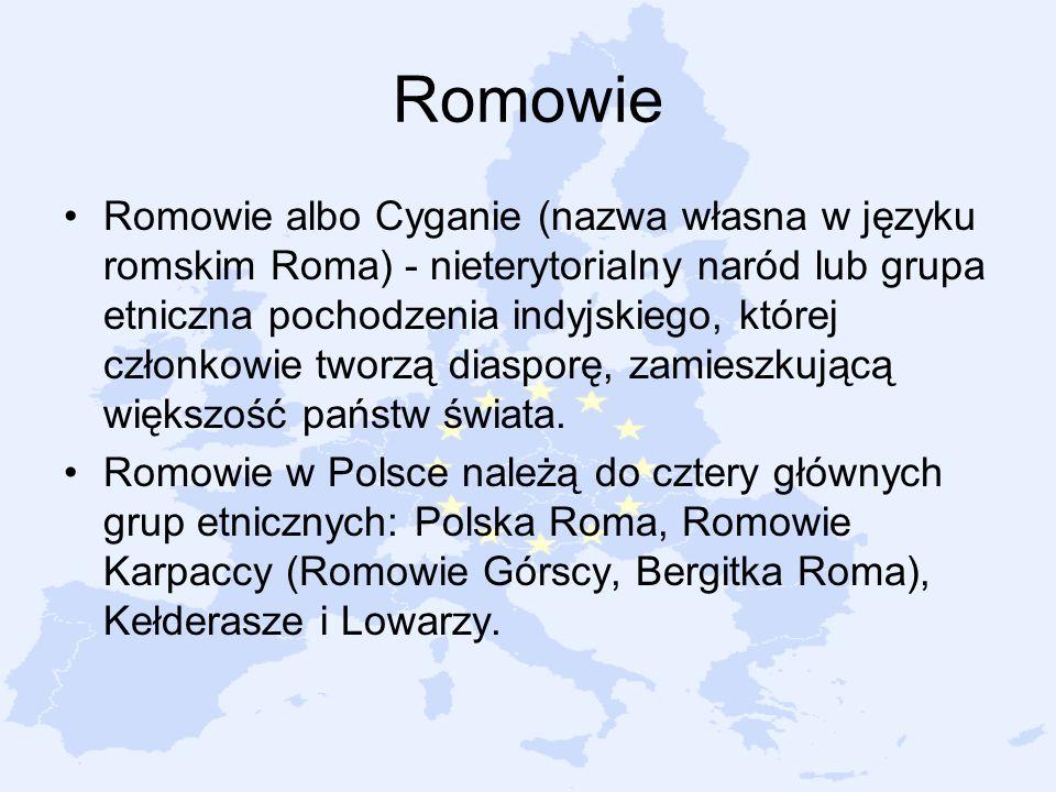 Romowie Romowie albo Cyganie (nazwa własna w języku romskim Roma) - nieterytorialny naród lub grupa etniczna pochodzenia indyjskiego, której członkowi