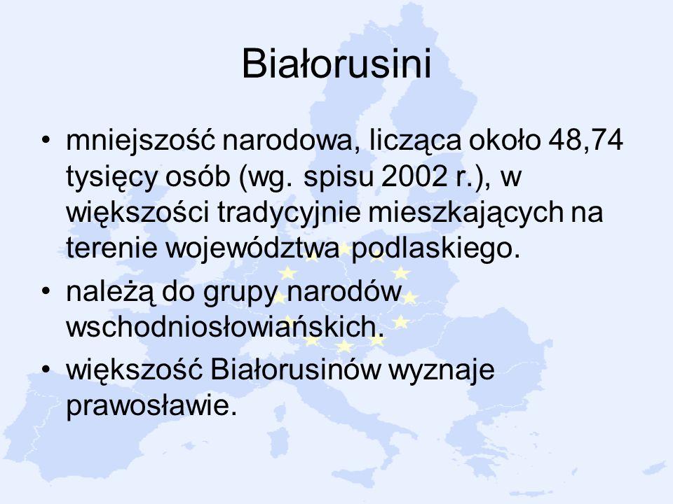 Białorusini mniejszość narodowa, licząca około 48,74 tysięcy osób (wg. spisu 2002 r.), w większości tradycyjnie mieszkających na terenie województwa p