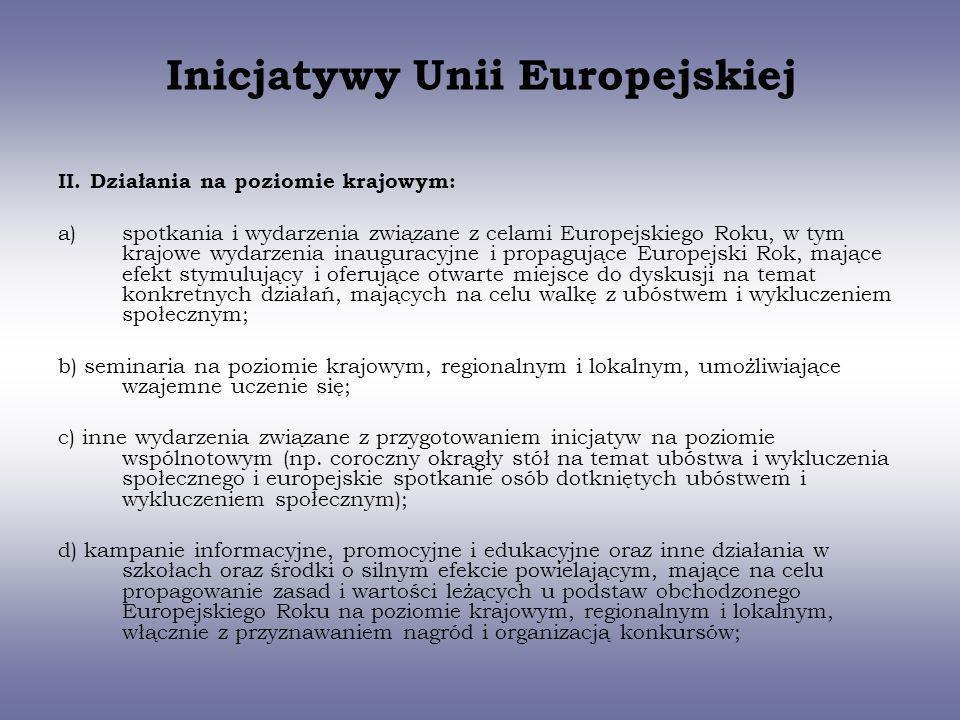 Inicjatywy Unii Europejskiej II. Działania na poziomie krajowym: a)spotkania i wydarzenia związane z celami Europejskiego Roku, w tym krajowe wydarzen