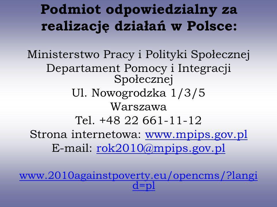 Podmiot odpowiedzialny za realizację działań w Polsce: Ministerstwo Pracy i Polityki Społecznej Departament Pomocy i Integracji Społecznej Ul. Nowogro