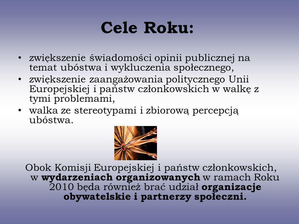 Cele Roku: zwiększenie świadomości opinii publicznej na temat ubóstwa i wykluczenia społecznego, zwiększenie zaangażowania politycznego Unii Europejsk