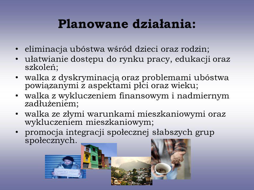 Planowane działania: eliminacja ubóstwa wśród dzieci oraz rodzin; ułatwianie dostępu do rynku pracy, edukacji oraz szkoleń; walka z dyskryminacją oraz