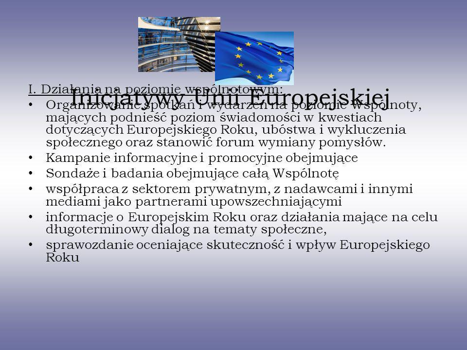 Inicjatywy Unii Europejskiej I. Działania na poziomie wspólnotowym: Organizowanie spotkań i wydarzeń na poziomie Wspólnoty, mających podnieść poziom ś
