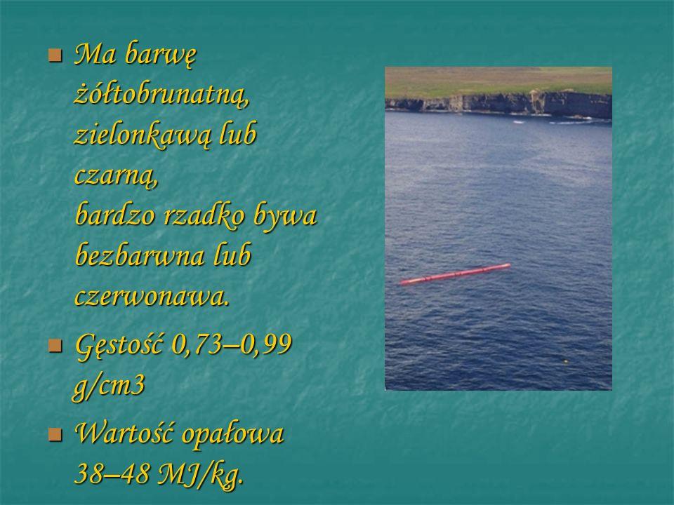 Ma barwę żółtobrunatną, zielonkawą lub czarną, bardzo rzadko bywa bezbarwna lub czerwonawa. Gęstość 0,73–0,99 g/cm3 Wartość opałowa 38–48 MJ/kg.