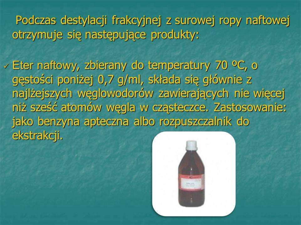 Podczas destylacji frakcyjnej z surowej ropy naftowej otrzymuje się następujące produkty: Podczas destylacji frakcyjnej z surowej ropy naftowej otrzym