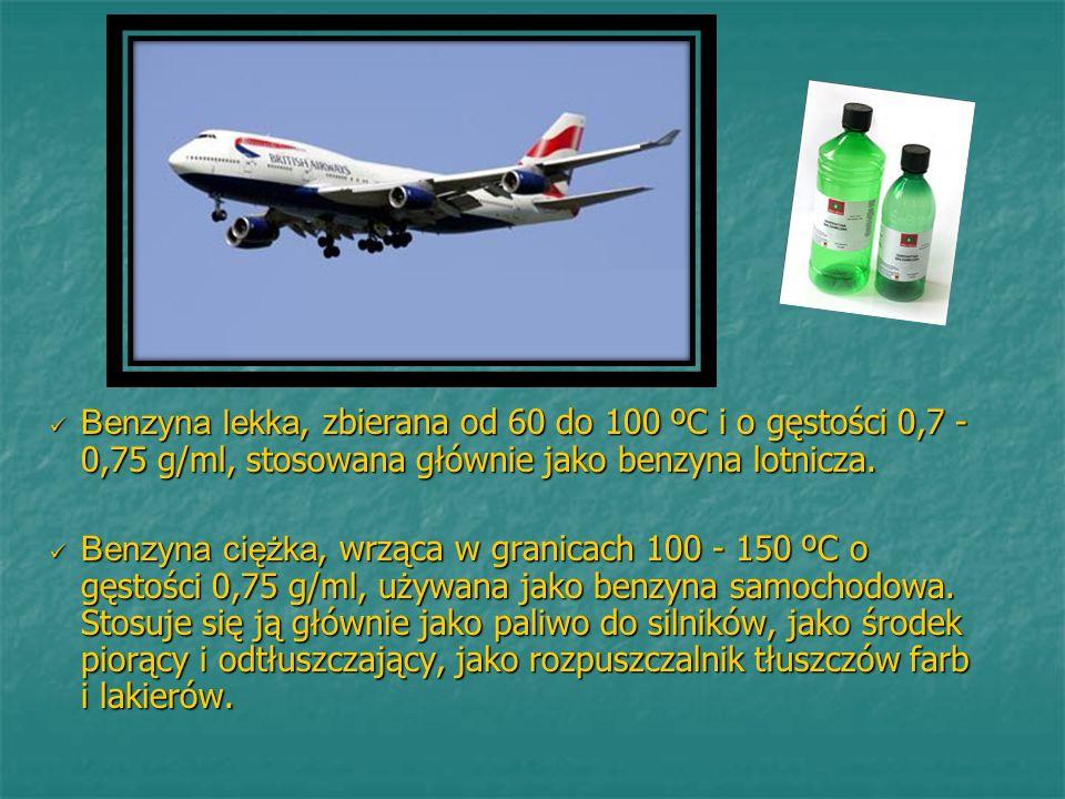 Benzyna lekka, zbierana od 60 do 100 ºC i o gęstości 0,7 - 0,75 g/ml, stosowana głównie jako benzyna lotnicza. Benzyna lekka, zbierana od 60 do 100 ºC