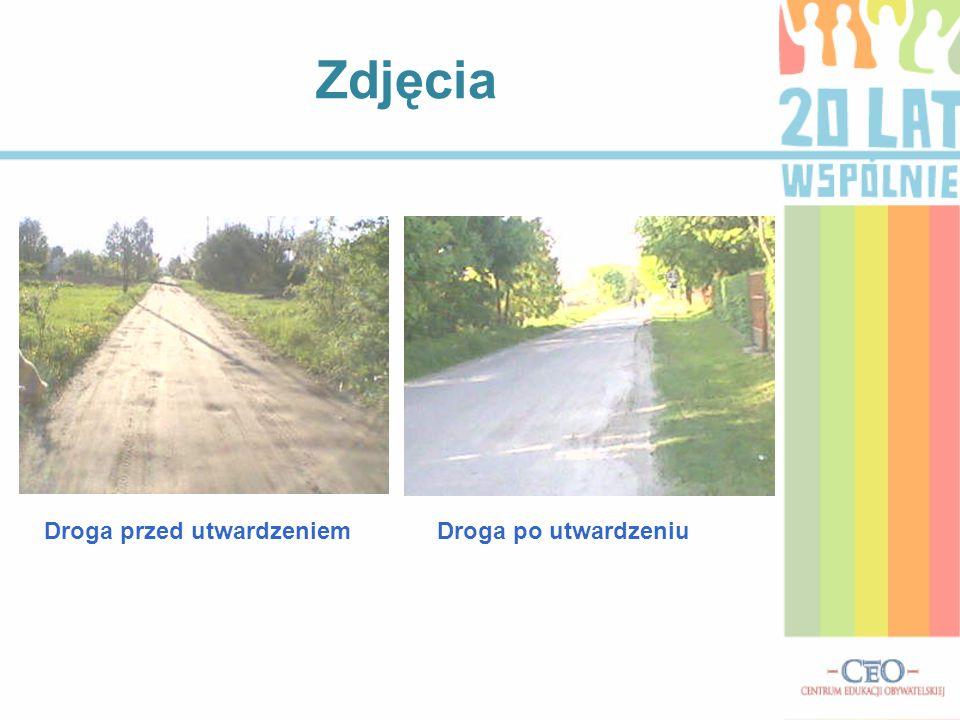 Zdjęcia Droga przed utwardzeniem Droga po utwardzeniu