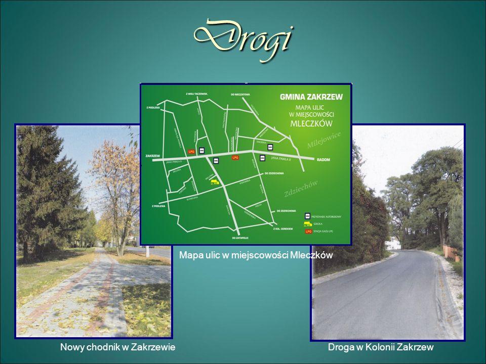Drogi Nowy chodnik w ZakrzewieDroga w Kolonii Zakrzew Mapa ulic w miejscowości Mleczków