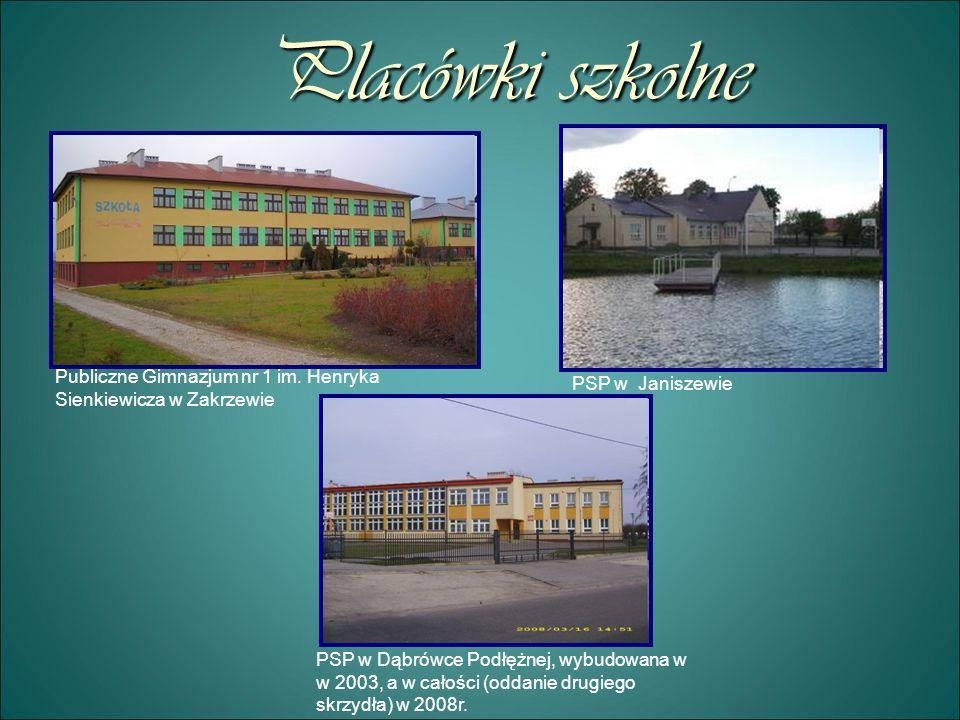 Placówki szkolne Publiczne Gimnazjum nr 1 im. Henryka Sienkiewicza w Zakrzewie PSP w Janiszewie PSP w Dąbrówce Podłężnej, wybudowana w w 2003, a w cał