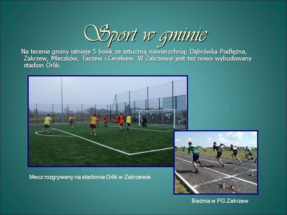 Sport w gminie Na terenie gminy istnieje 5 boisk ze sztuczną nawierzchnią: Dąbrówka Podłężna, Zakrzew, Mleczków, Taczew i Cerekiew. W Zakrzewie jest t