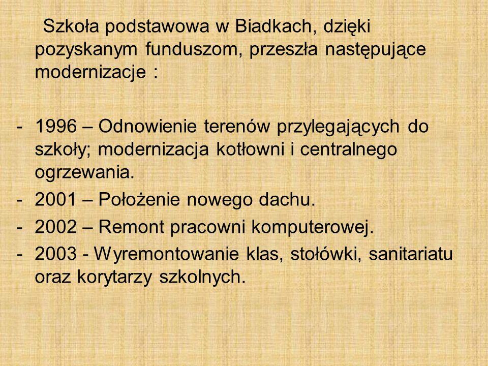 Szkoła podstawowa w Biadkach, dzięki pozyskanym funduszom, przeszła następujące modernizacje : -1996 – Odnowienie terenów przylegających do szkoły; modernizacja kotłowni i centralnego ogrzewania.