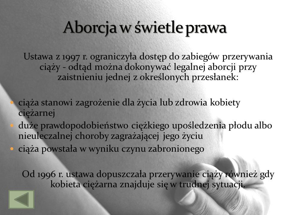 Ustawa z 1997 r. ograniczyła dostęp do zabiegów przerywania ciąży - odtąd można dokonywać legalnej aborcji przy zaistnieniu jednej z określonych przes