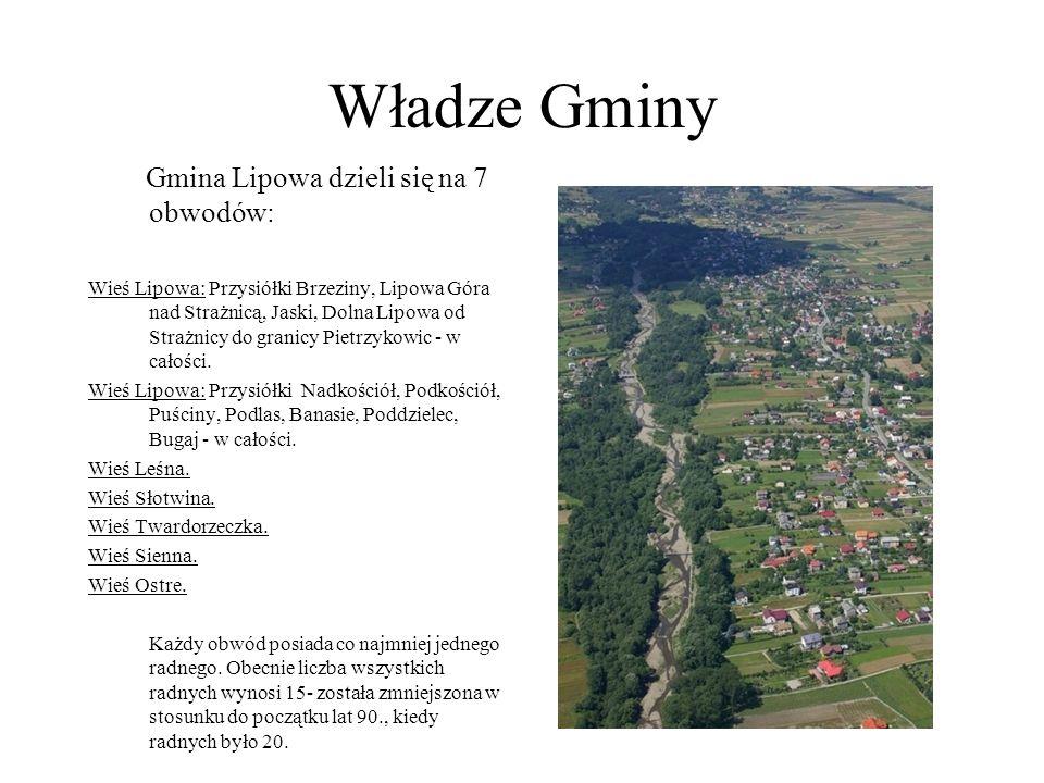 Władze Gminy Gmina Lipowa dzieli się na 7 obwodów: Wieś Lipowa: Przysiółki Brzeziny, Lipowa Góra nad Strażnicą, Jaski, Dolna Lipowa od Strażnicy do gr