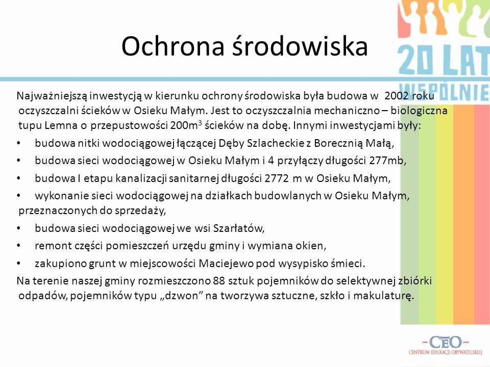 Ochrona środowiska Najważniejszą inwestycją w kierunku ochrony środowiska była budowa w 2002 roku oczyszczalni ścieków w Osieku Małym. Jest to oczyszc