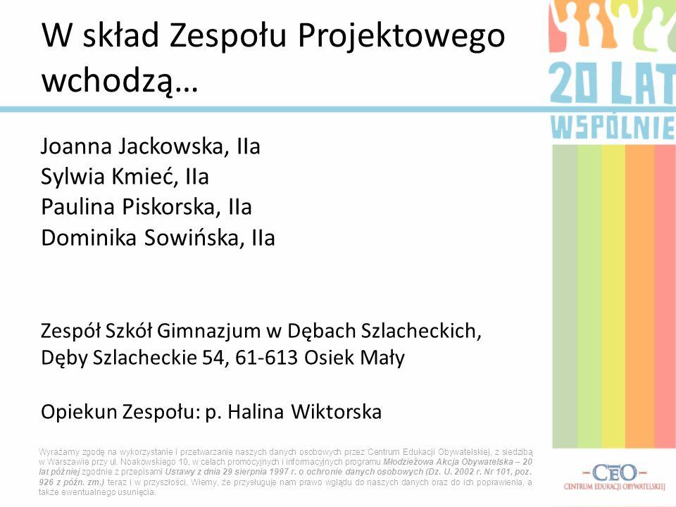 Joanna Jackowska, IIa Sylwia Kmieć, IIa Paulina Piskorska, IIa Dominika Sowińska, IIa Zespół Szkół Gimnazjum w Dębach Szlacheckich, Dęby Szlacheckie 5