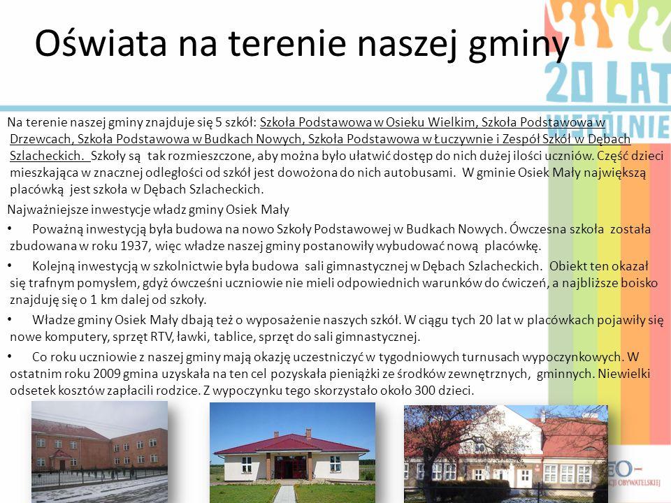 Oświata na terenie naszej gminy Na terenie naszej gminy znajduje się 5 szkół: Szkoła Podstawowa w Osieku Wielkim, Szkoła Podstawowa w Drzewcach, Szkoł