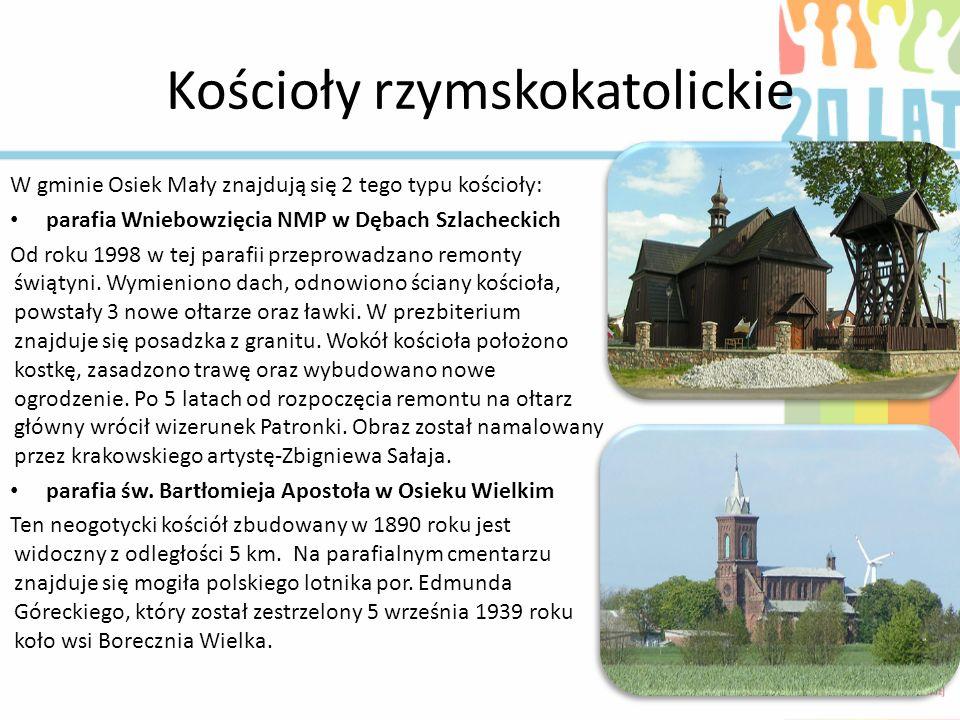 Kościoły rzymskokatolickie W gminie Osiek Mały znajdują się 2 tego typu kościoły: parafia Wniebowzięcia NMP w Dębach Szlacheckich Od roku 1998 w tej p