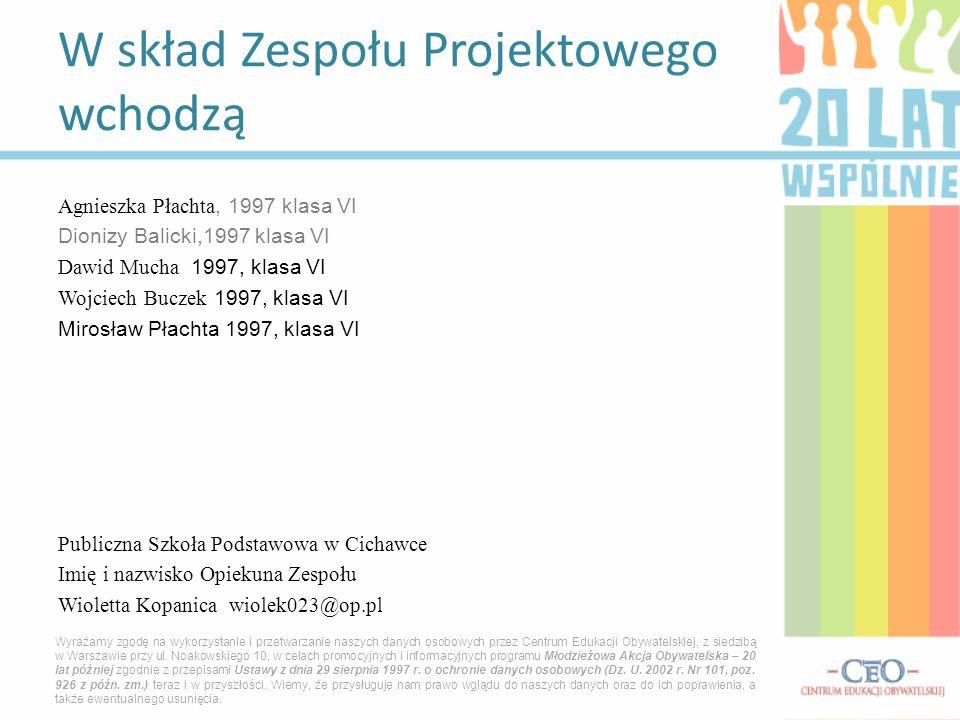 Agnieszka Płachta, 1997 klasa VI Dionizy Balicki,1997 klasa VI Dawid Mucha 1997, klasa VI Wojciech Buczek 1997, klasa VI Mirosław Płachta 1997, klasa