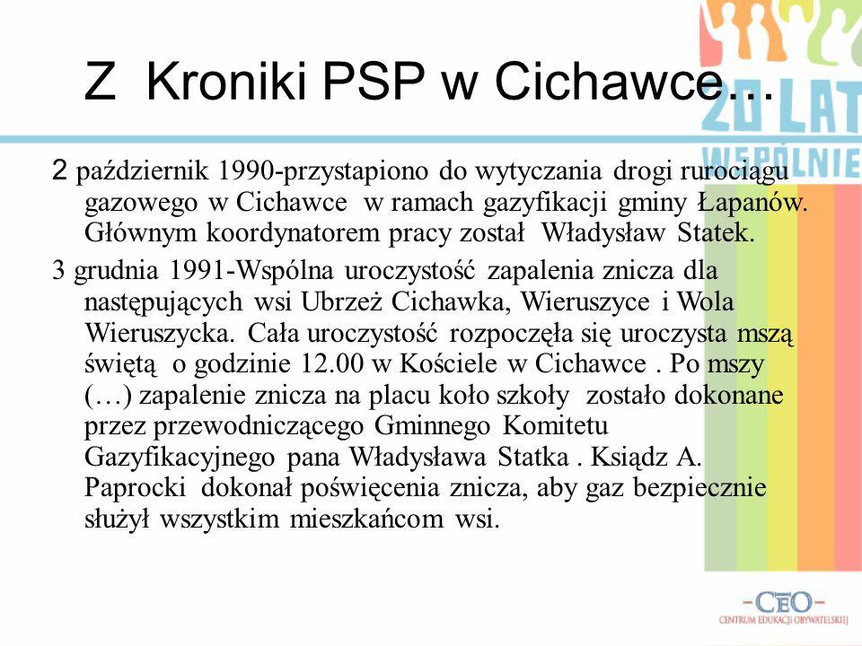 Z Kroniki PSP w Cichawce… 2 październik 1990-przystapiono do wytyczania drogi rurociągu gazowego w Cichawce w ramach gazyfikacji gminy Łapanów. Główny