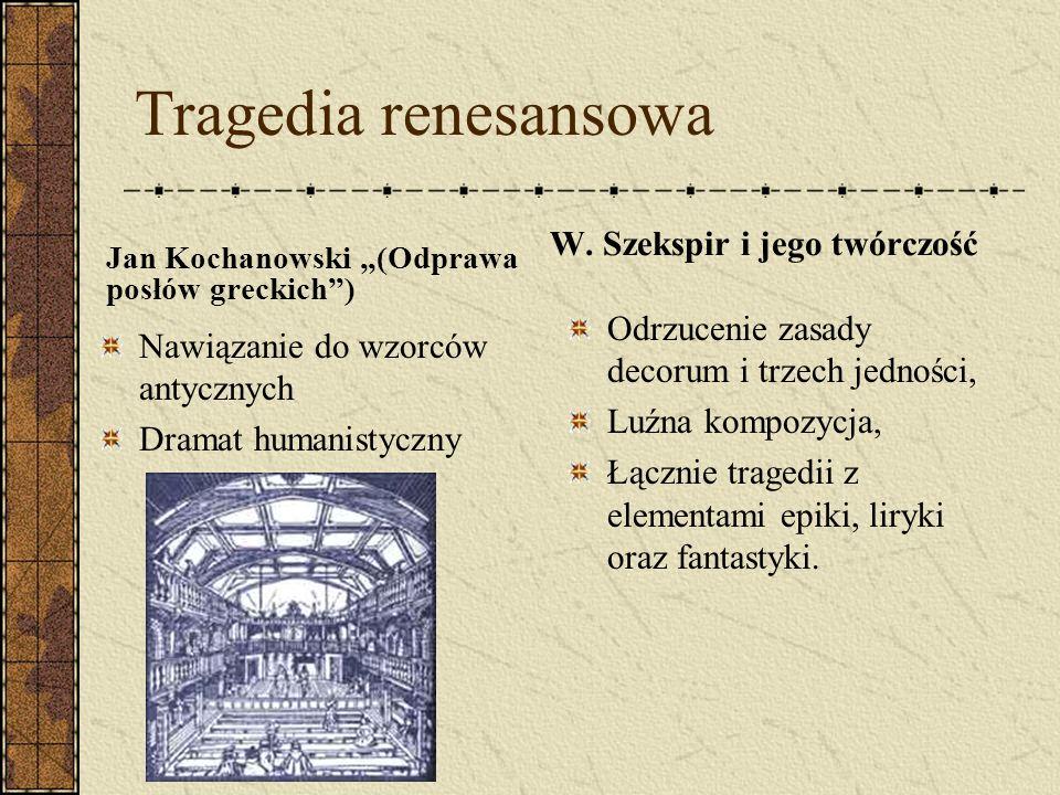 Tragedia renesansowa Jan Kochanowski (Odprawa posłów greckich) Nawiązanie do wzorców antycznych Dramat humanistyczny W. Szekspir i jego twórczość Odrz