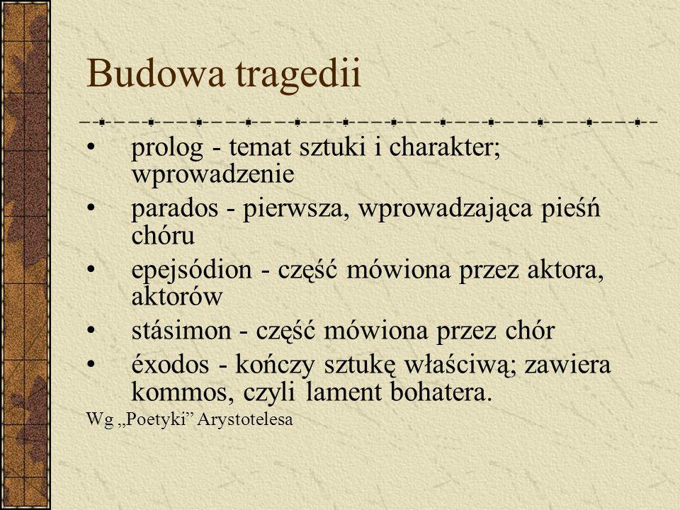 Budowa tragedii prolog - temat sztuki i charakter; wprowadzenie parados - pierwsza, wprowadzająca pieśń chóru epejsódion - część mówiona przez aktora,