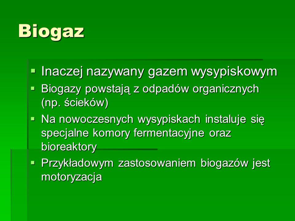 Biogaz Inaczej nazywany gazem wysypiskowym Inaczej nazywany gazem wysypiskowym Biogazy powstają z odpadów organicznych (np. ścieków) Biogazy powstają