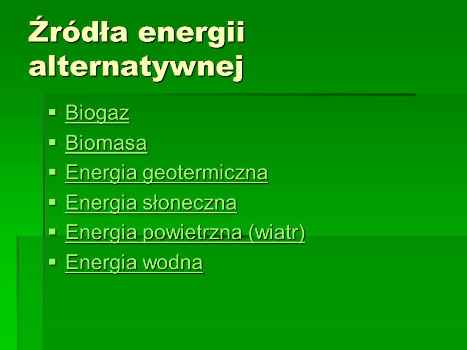 Źródła energii alternatywnej Biogaz Biogaz Biogaz Biomasa Biomasa Biomasa Energia geotermiczna Energia geotermiczna Energia geotermiczna Energia geote