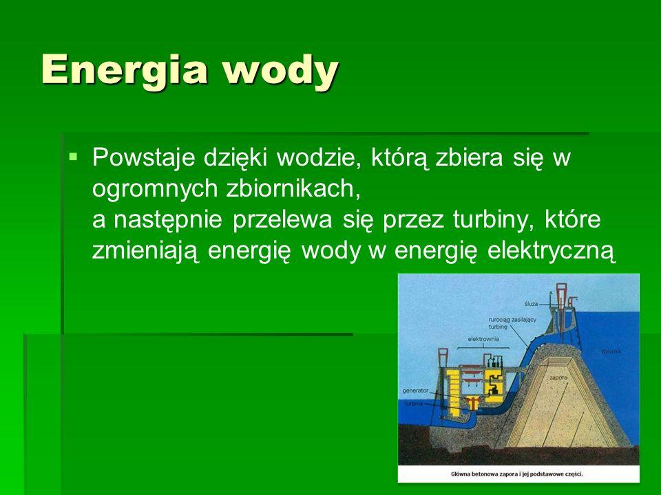 Zalety i wady energii wodnej Zalety: Źródło energii odnawialnej Źródło energii odnawialnej Nie emituje szkodliwych gazów Nie emituje szkodliwych gazówWady: Może źle wpłynąć na bilans hydrologiczny okolicy Może źle wpłynąć na bilans hydrologiczny okolicy