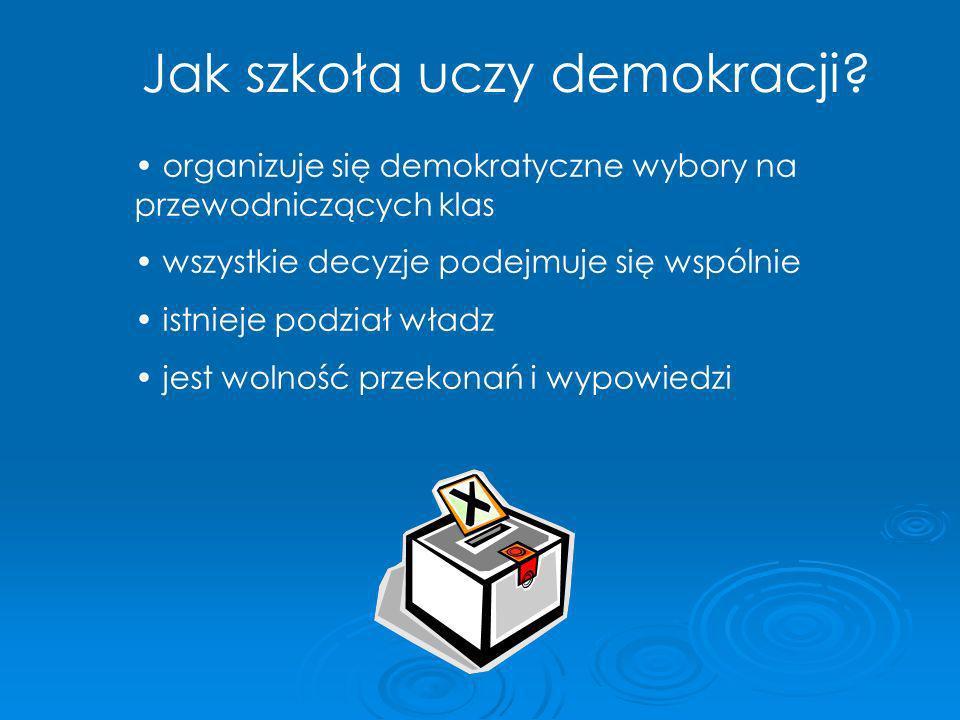 Jak szkoła uczy demokracji? organizuje się demokratyczne wybory na przewodniczących klas wszystkie decyzje podejmuje się wspólnie istnieje podział wła