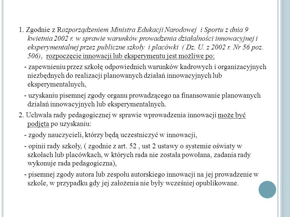1. Zgodnie z Rozporządzeniem Ministra Edukacji Narodowej i Sportu z dnia 9 kwietnia 2002 r. w sprawie warunków prowadzenia działalności innowacyjnej i