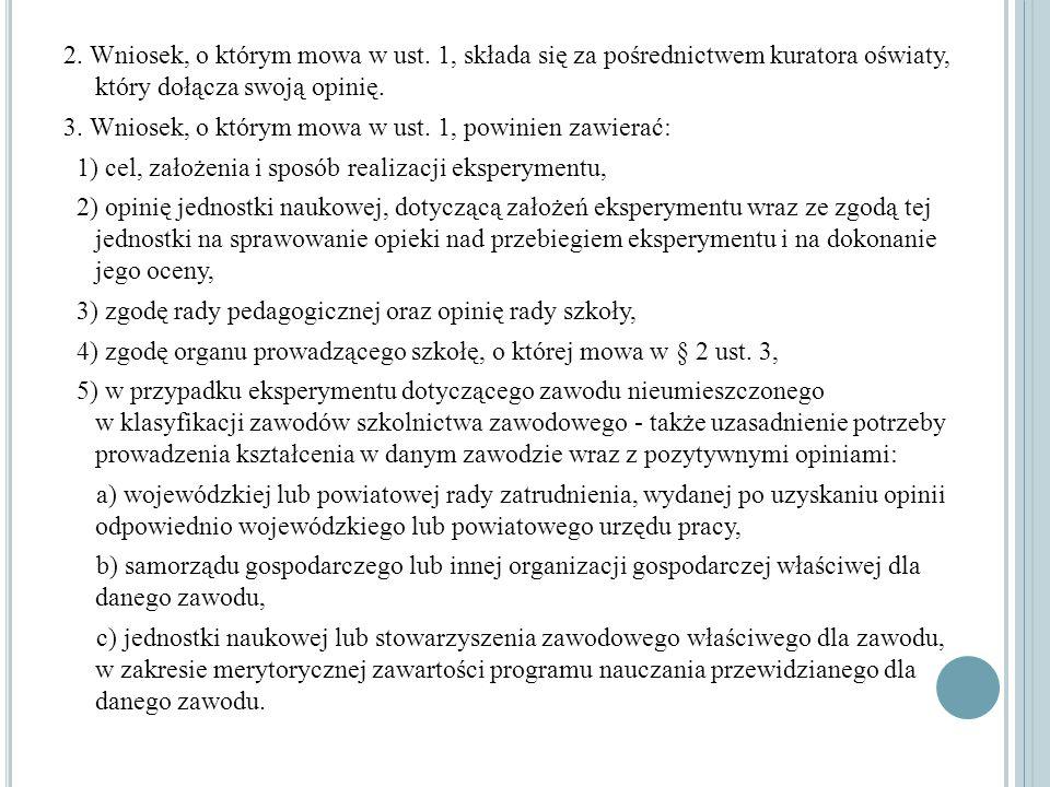 2. Wniosek, o którym mowa w ust. 1, składa się za pośrednictwem kuratora oświaty, który dołącza swoją opinię. 3. Wniosek, o którym mowa w ust. 1, powi