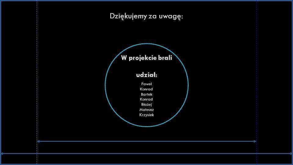 Dziękujemy za uwagę: W projekcie brali udział: Paweł Konrad Bartek Konrad Błażej Mateusz Krzysiek