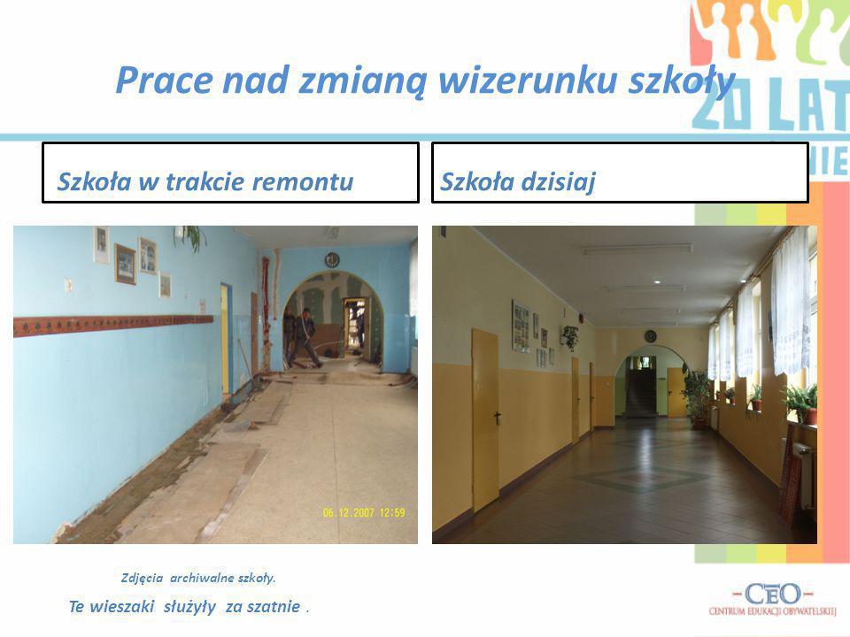 Prace nad zmianą wizerunku szkoły Szkoła w trakcie remontuSzkoła dzisiaj Zdjęcia archiwalne szkoły. Te wieszaki służyły za szatnie.