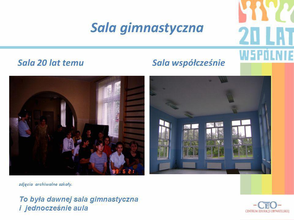 Sala gimnastyczna Sala 20 lat temuSala współcześnie zdjęcia archiwalne szkoły. To była dawnej sala gimnastyczna i jednocześnie aula