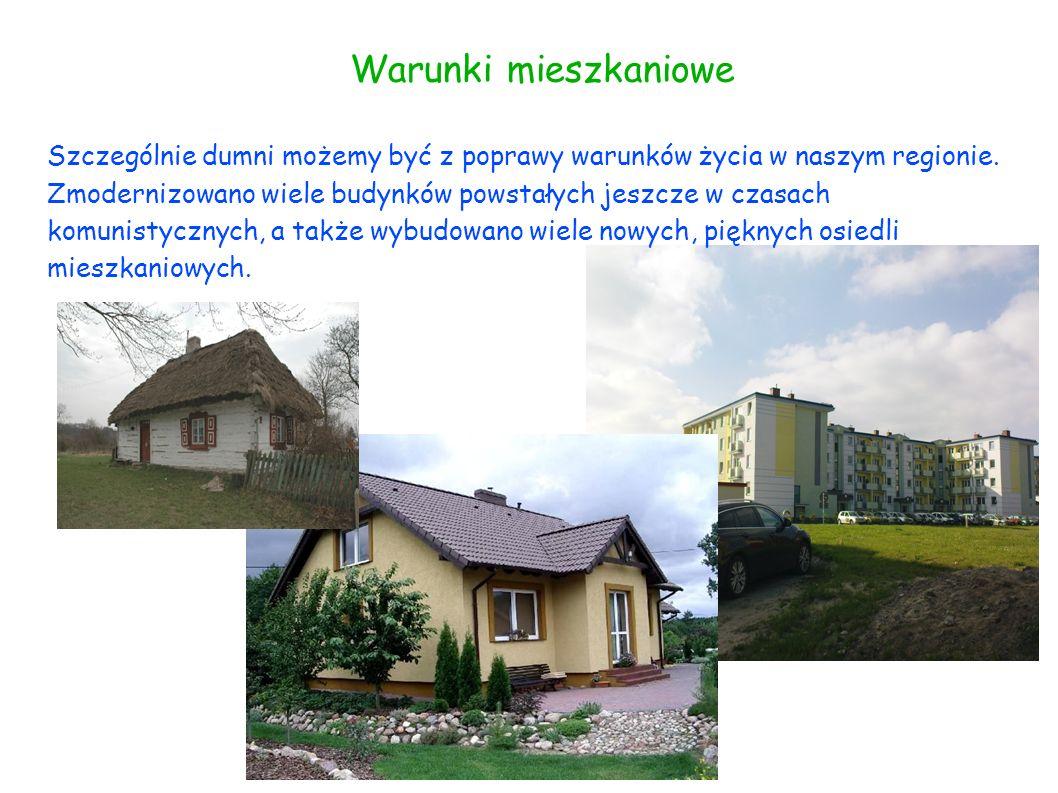 Warunki mieszkaniowe Szczególnie dumni możemy być z poprawy warunków życia w naszym regionie. Zmodernizowano wiele budynków powstałych jeszcze w czasa