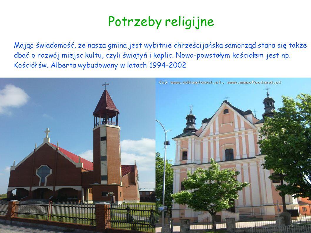 Potrzeby religijne Mając świadomość, że nasza gmina jest wybitnie chrześcijańska samorząd stara się także dbać o rozwój miejsc kultu, czyli świątyń i