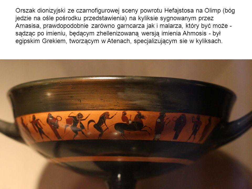 Orszak dionizyjski ze czarnofigurowej sceny powrotu Hefajstosa na Olimp (bóg jedzie na ośle pośrodku przedstawienia) na kyliksie sygnowanym przez Amas