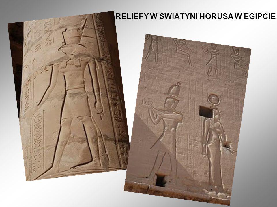RELIEFY W ŚWIĄTYNI HORUSA W EGIPCIE