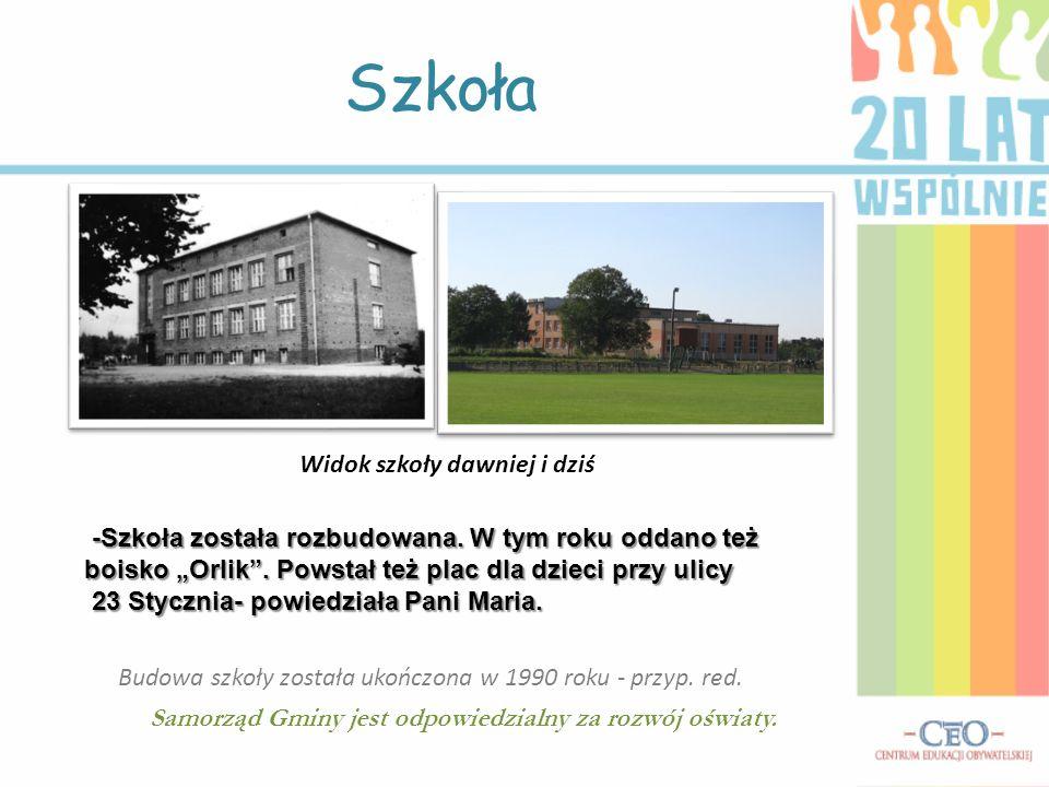 Szkoła Widok szkoły dawniej i dziś -Szkoła została rozbudowana. W tym roku oddano też boisko Orlik. Powstał też plac dla dzieci przy ulicy -Szkoła zos