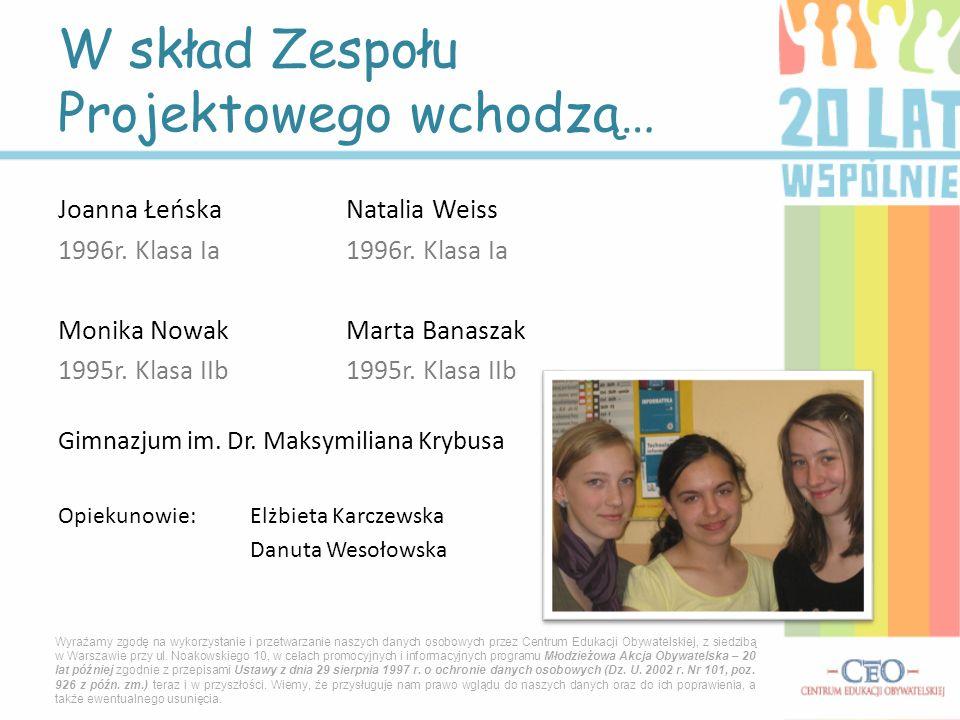 Joanna ŁeńskaNatalia Weiss 1996r. Klasa Ia1996r. Klasa Ia Monika NowakMarta Banaszak 1995r. Klasa IIb1995r. Klasa IIb Gimnazjum im. Dr. Maksymiliana K