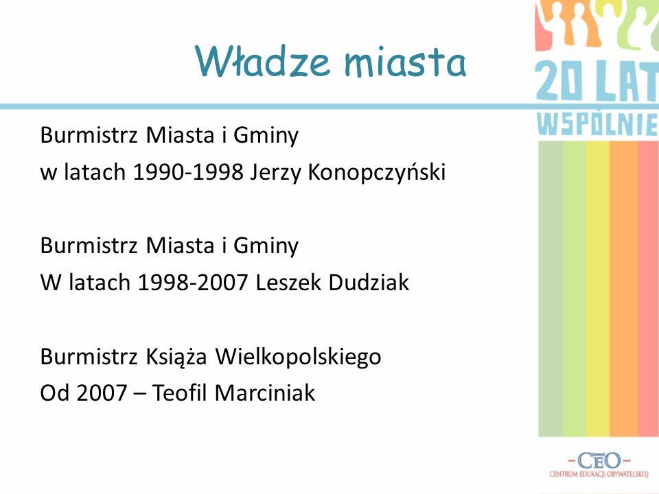 Burmistrz Miasta i Gminy w latach 1990-1998 Jerzy Konopczyński Burmistrz Miasta i Gminy W latach 1998-2007 Leszek Dudziak Burmistrz Książa Wielkopolsk