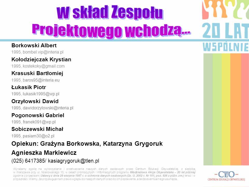 Borkowski Albert 1995, bombel.vip@interia.pl Kołodziejczak Krystian 1995, kostekoky@gmail.com Krasuski Bartłomiej 1995, baros95@interia.eu Łukasik Pio