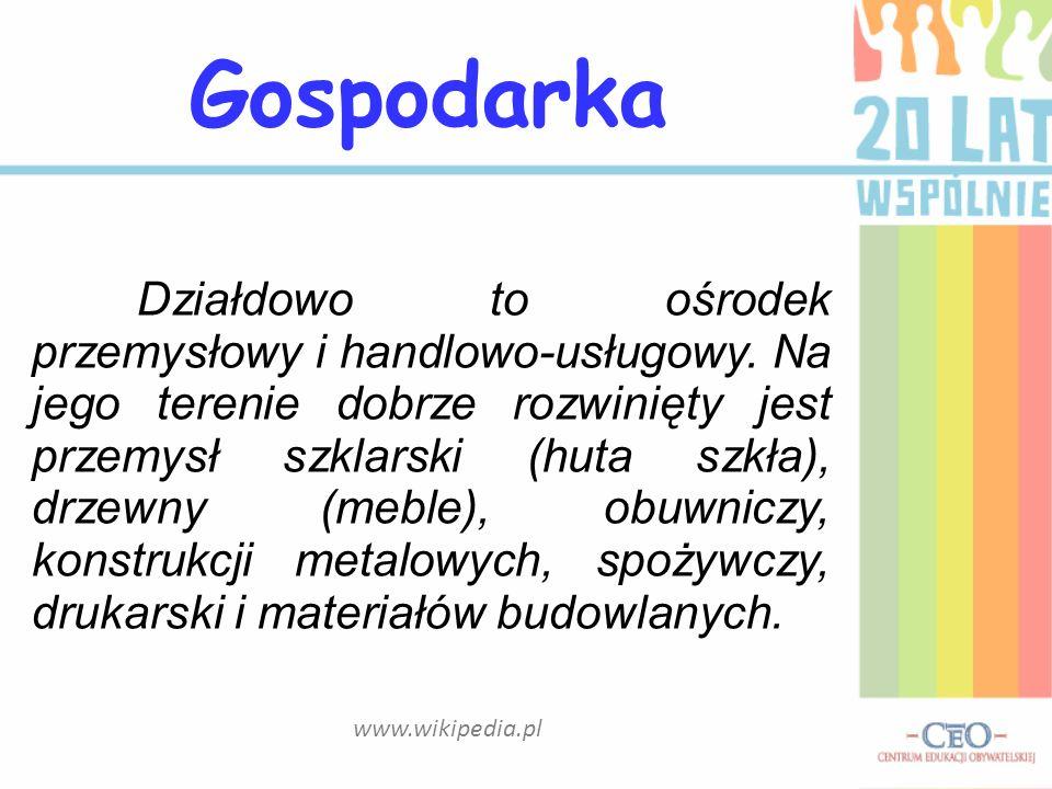 www.wikipedia.pl Działdowo to ośrodek przemysłowy i handlowo-usługowy. Na jego terenie dobrze rozwinięty jest przemysł szklarski (huta szkła), drzewny