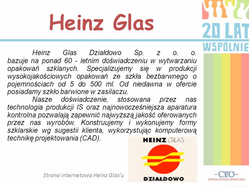 Strona internetowa Heinz Glasu Heinz Glas Heinz Glas Działdowo Sp. z o. o. bazuje na ponad 60 - letnim doświadczeniu w wytwarzaniu opakowań szklanych.